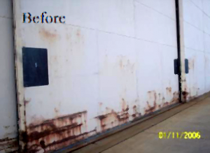 LBP and rust on metal building