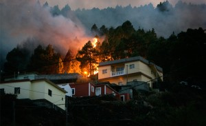 Forest fire threatens home